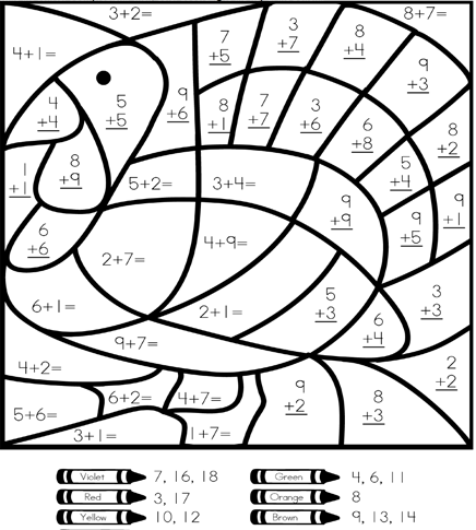 Printable Color by Number Addition