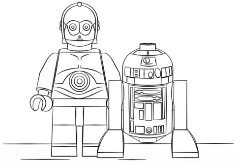 R2 and C3PO Lego Star Wars Coloring Pages