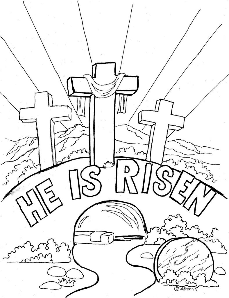 Religious Easter Coloring Pages - He is Risen