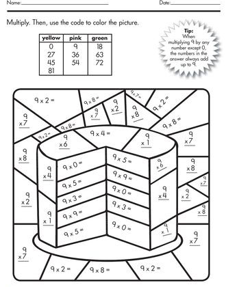 Color By Number Multiplication Worksheets