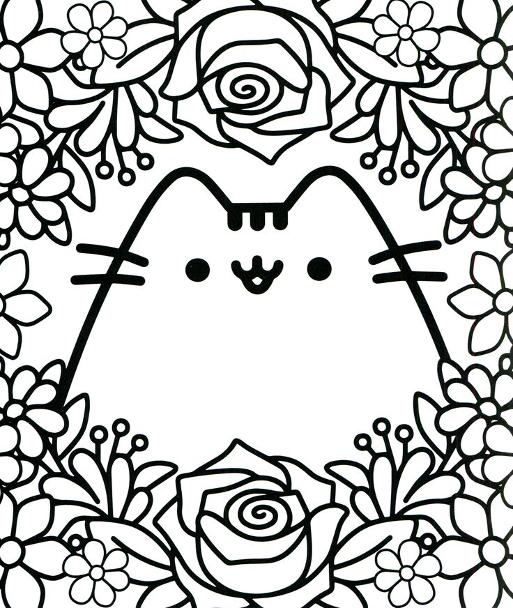 Cute Cat Kawaii Coloring Pages