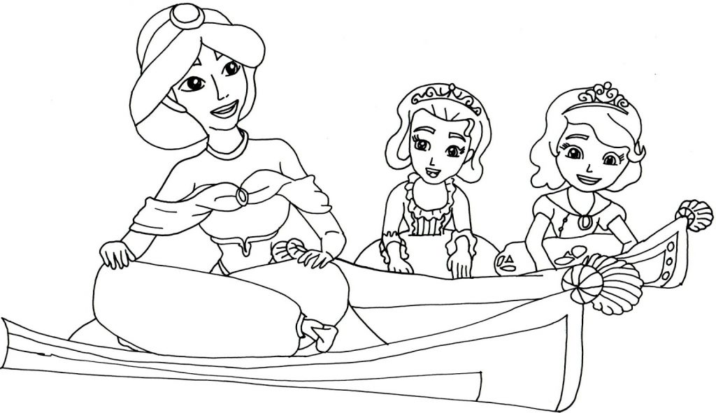 Jasmine Sofia the First Coloring Pages