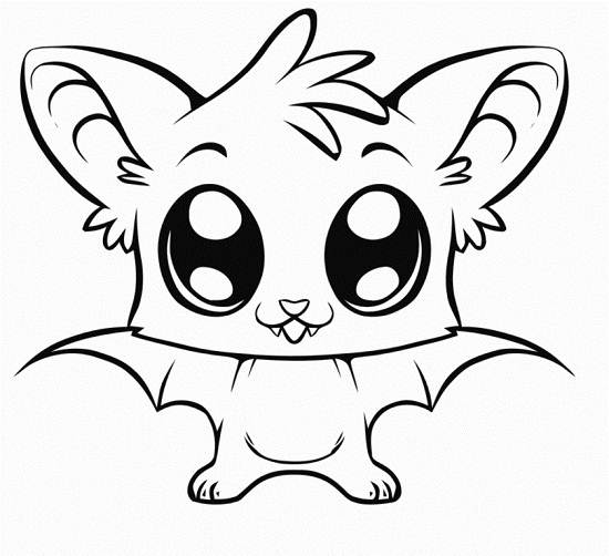 Kawaii Bat Coloring Pages