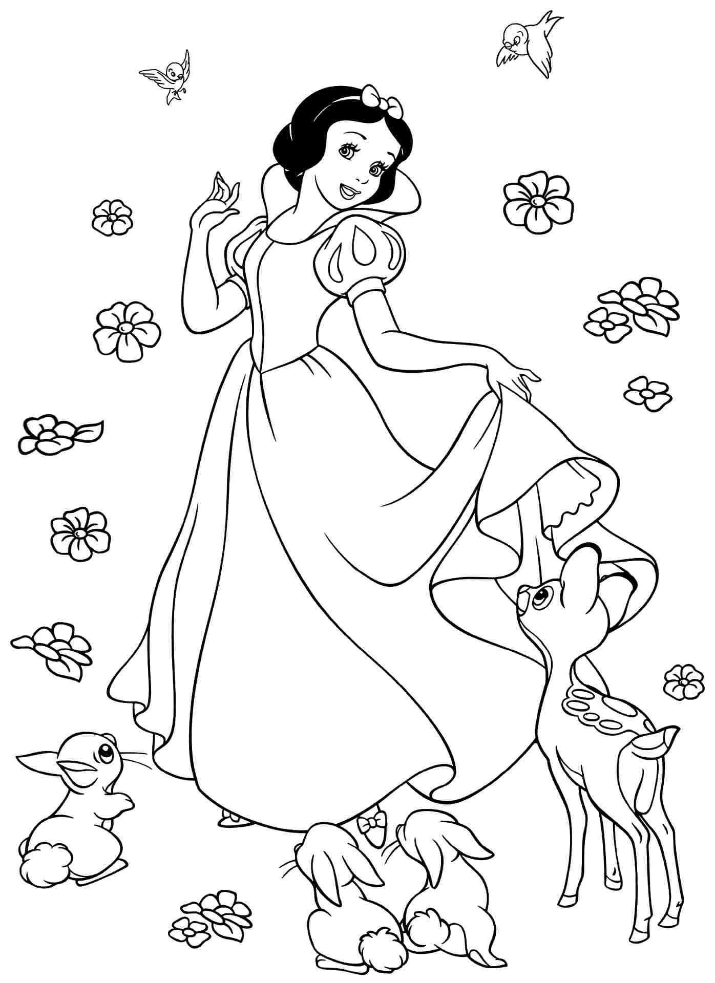 print free snow white coloring pages