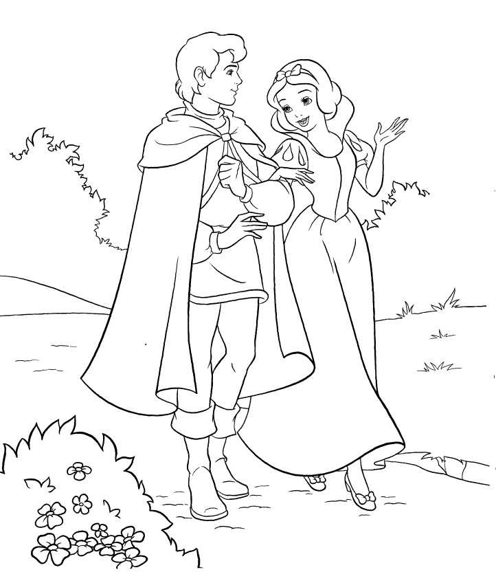 Snow White and Her Prince Coloring Page