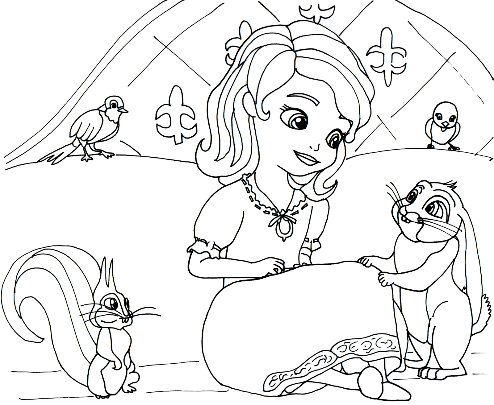 This is a graphic of Handy Sofia the First Printable Coloring Pages