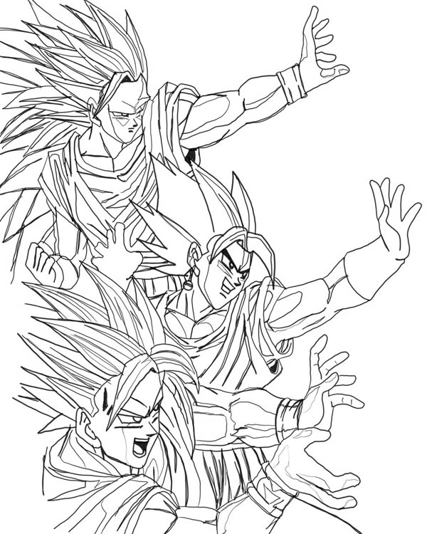 Stages of Goku - Dragon Ball Z Coloring Pages