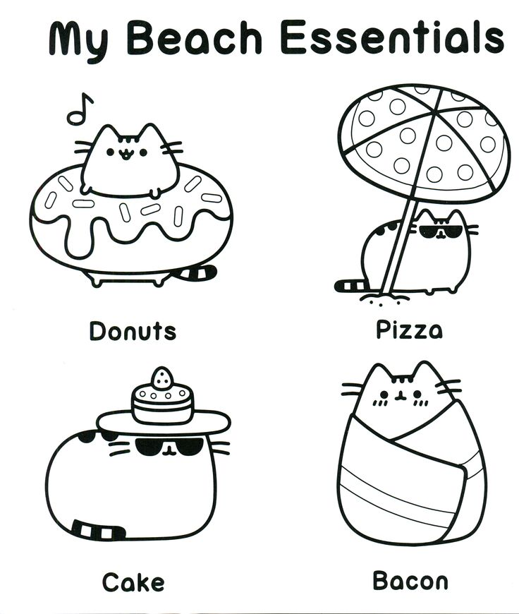 Beach Cat - Pusheen Coloring Pages