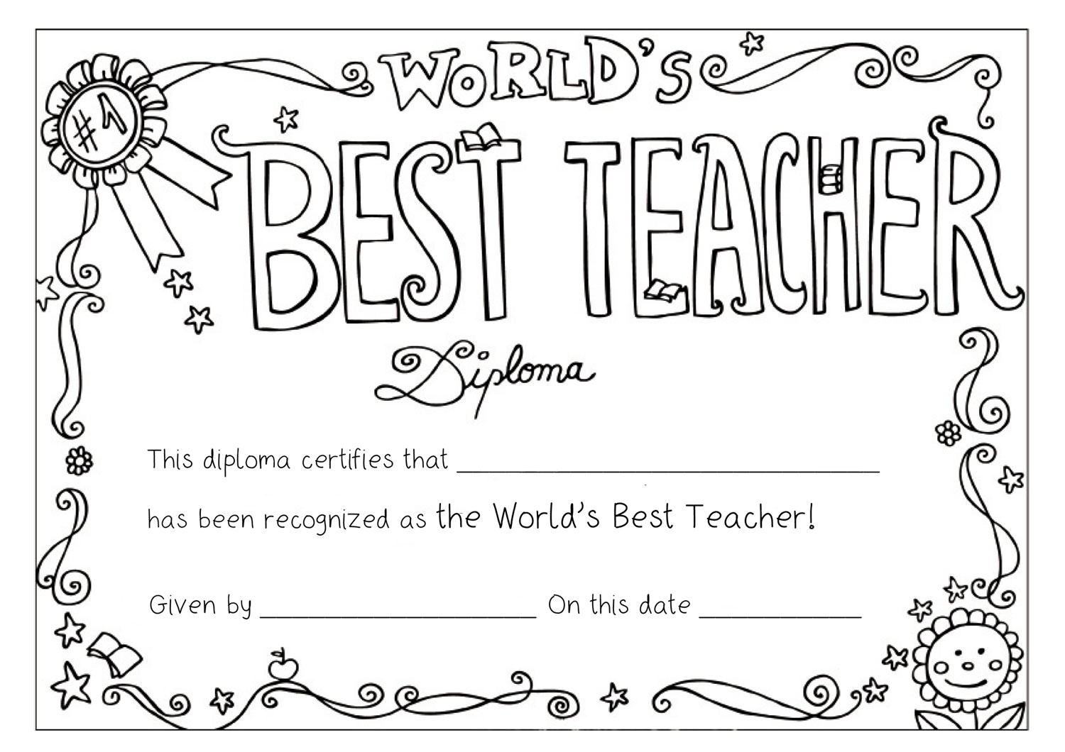 Best Teacher Award Free Printable