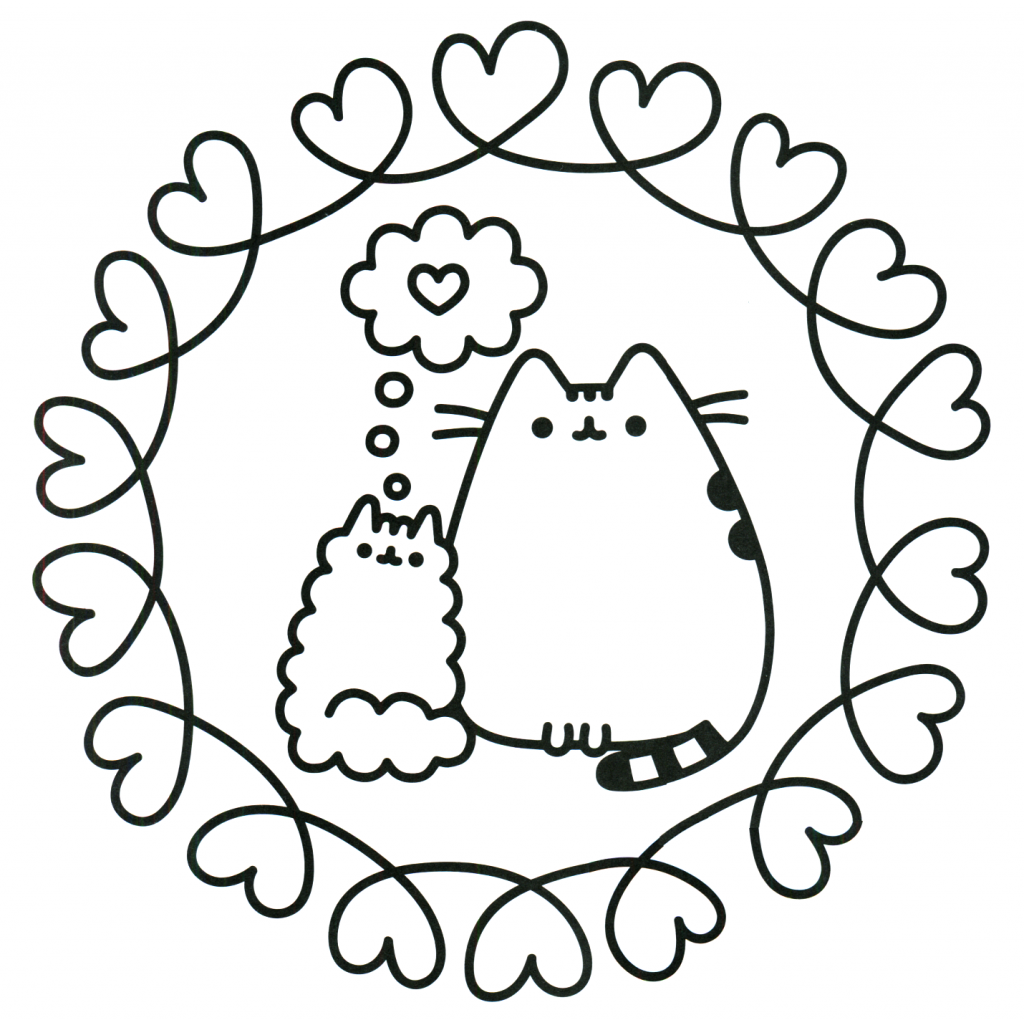 Cats in Love - Pusheen Coloring Pages