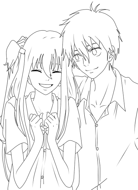 Free Anime Couple Coloring Pages