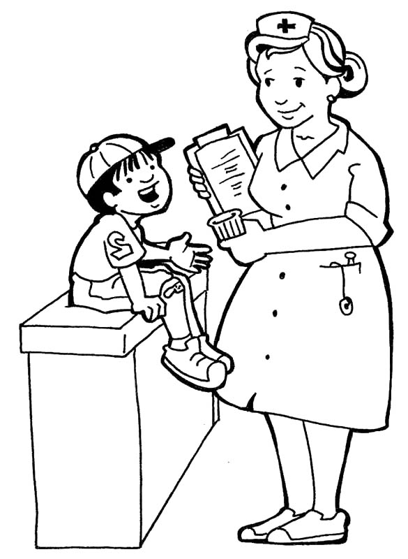Helpful Nurse Coloring Pages