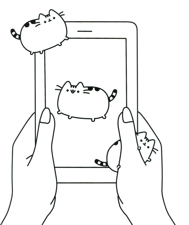 Mobile Cat Pusheen Coloring Pages