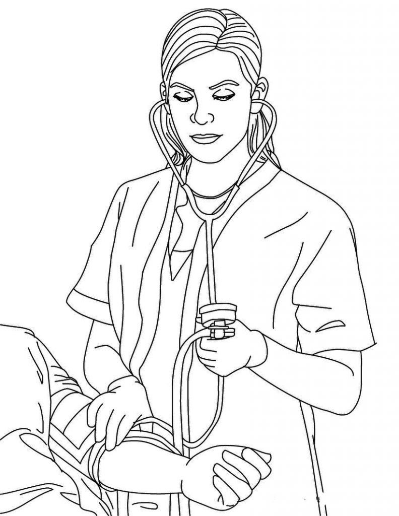 Nurse Taking Blood Pressure Coloring Page
