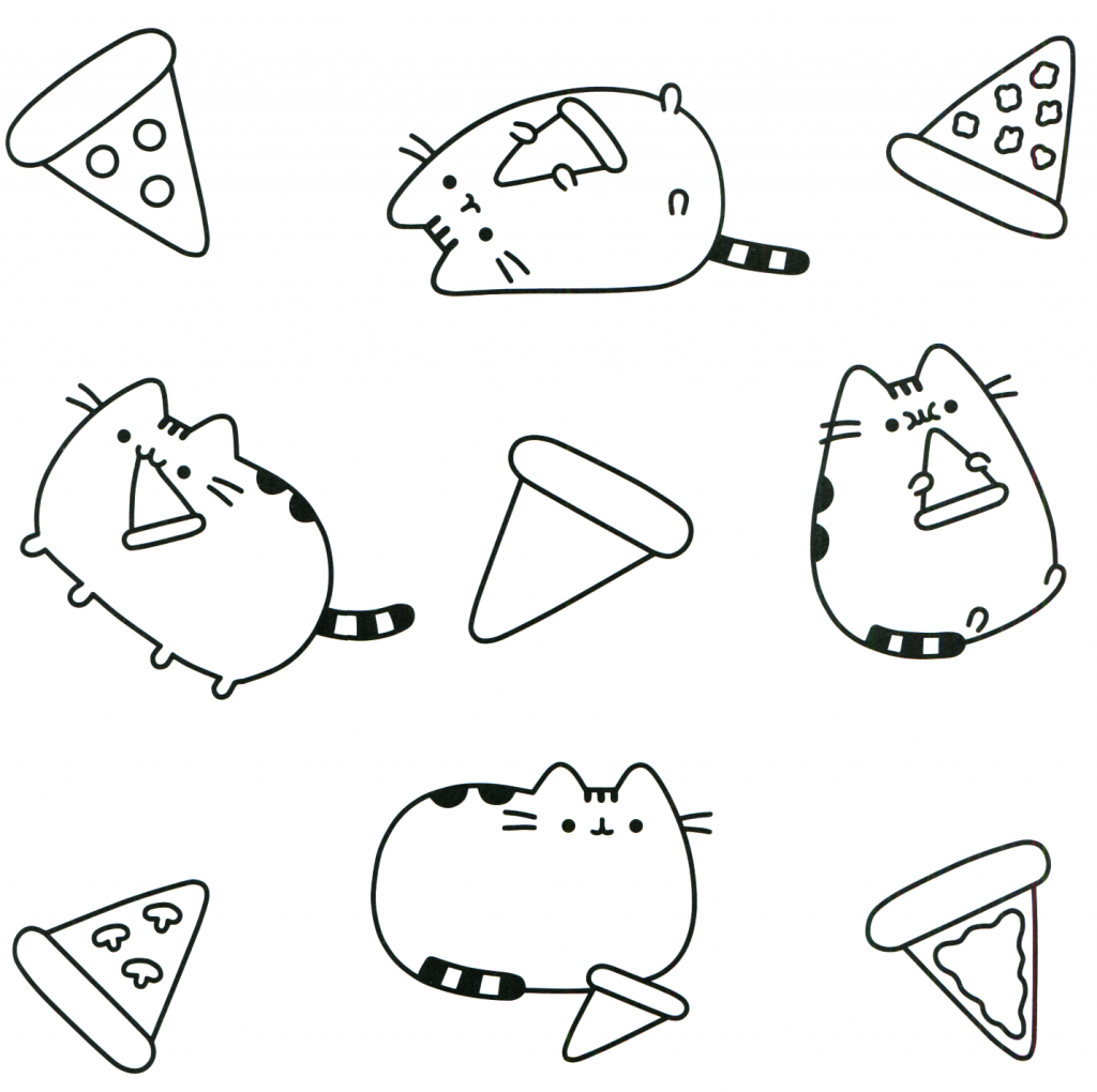 Pizza Cat - Pusheen Coloring Pages
