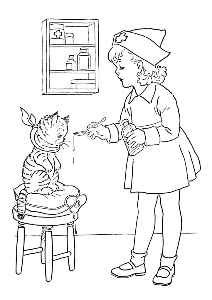 Playing Nurse Coloring Page