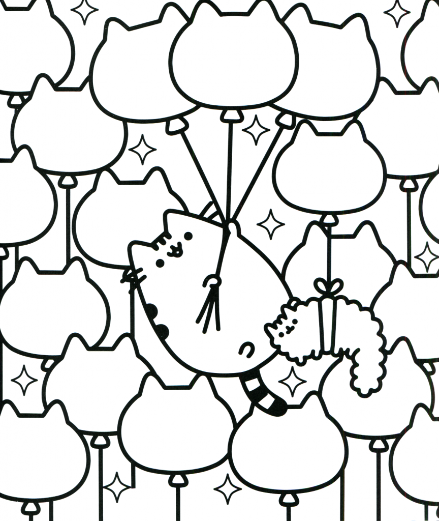 Pusheen Cat Coloring Pages - Balloon Kitties