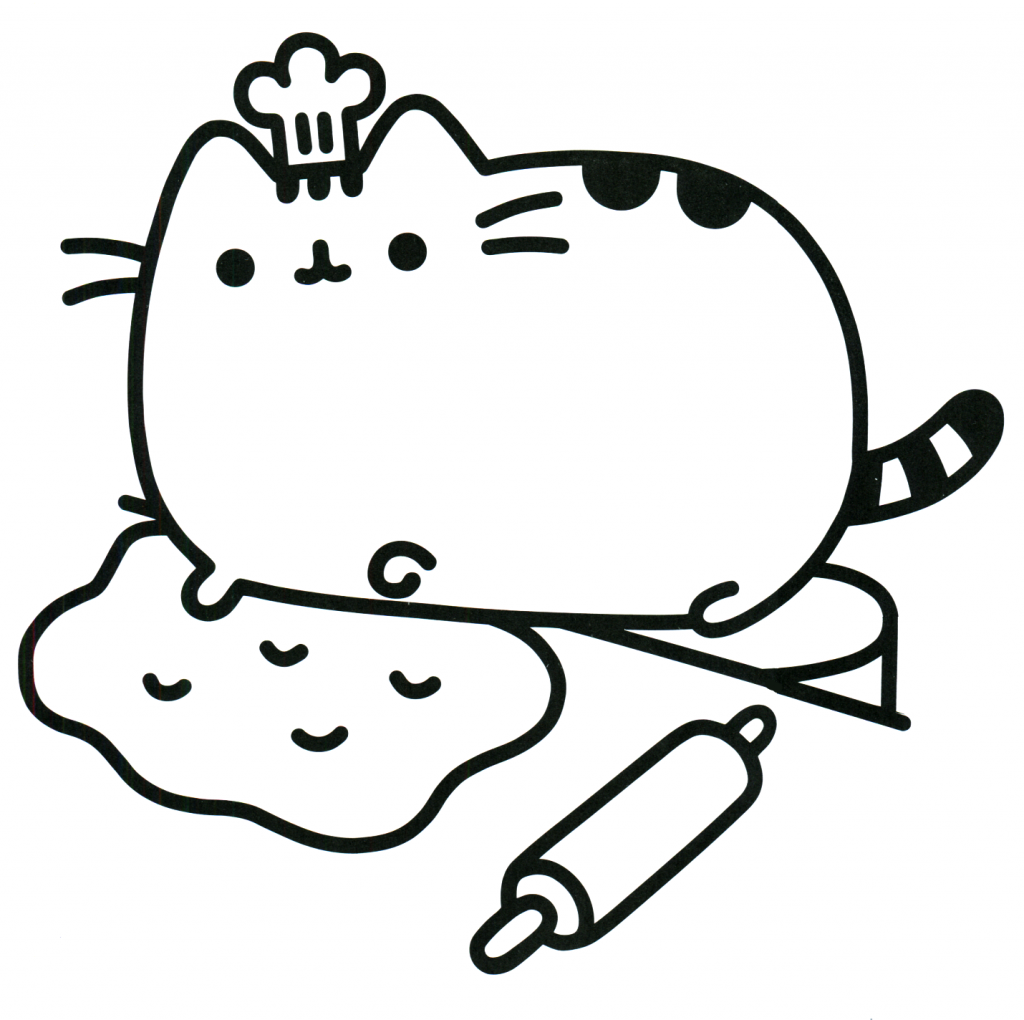 Pusheen Coloring Pages Baking