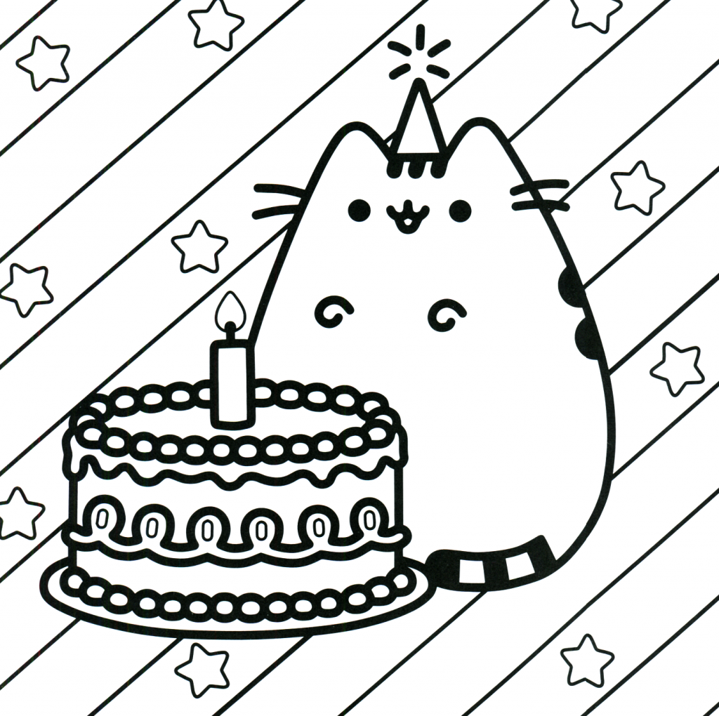 Pusheen Coloring Pages - Birthday Cat