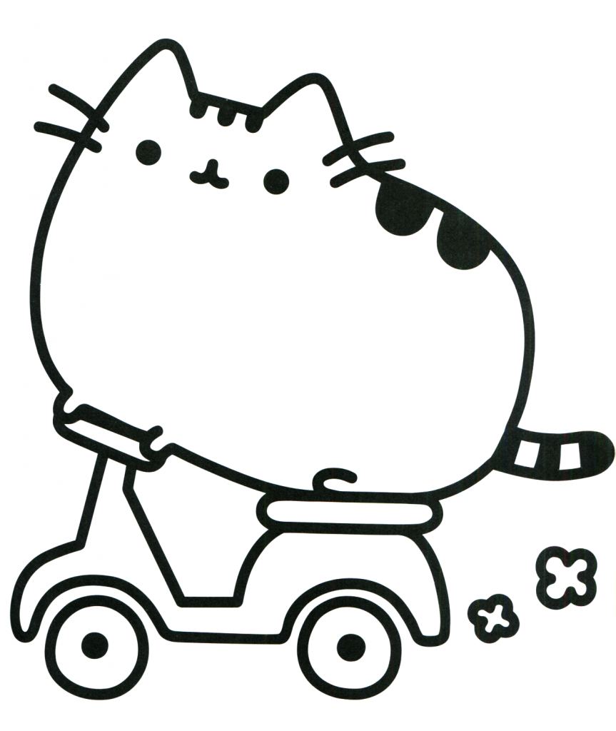 Pusheen Coloring Pages - Cat on a Motorbike