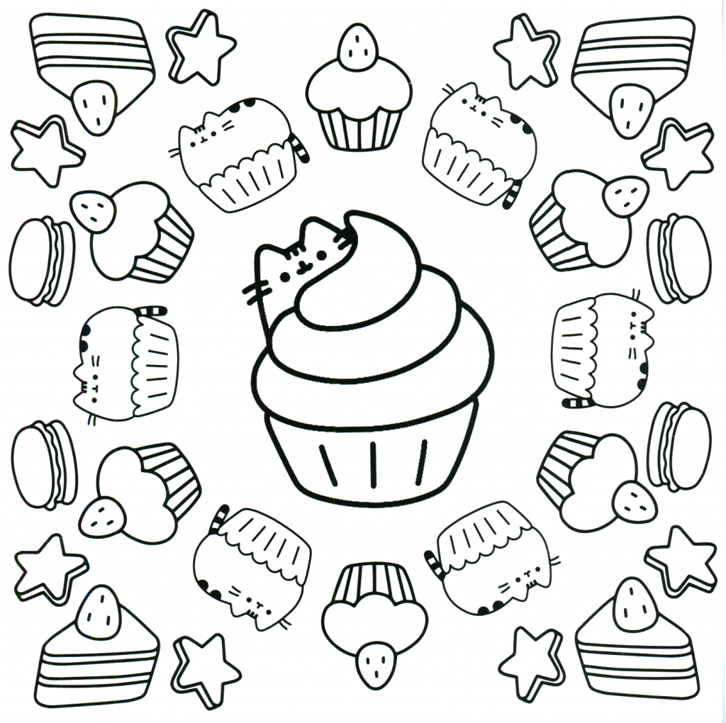 Pusheen Cupcake Coloring Pages