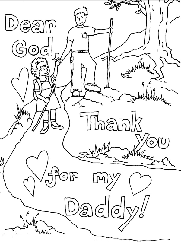 Thank You Daddy Fathers Day Coloring Page