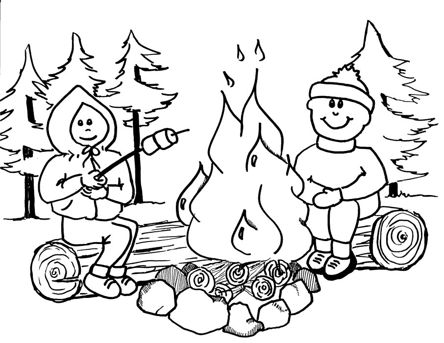 Campfire Coloring Pages