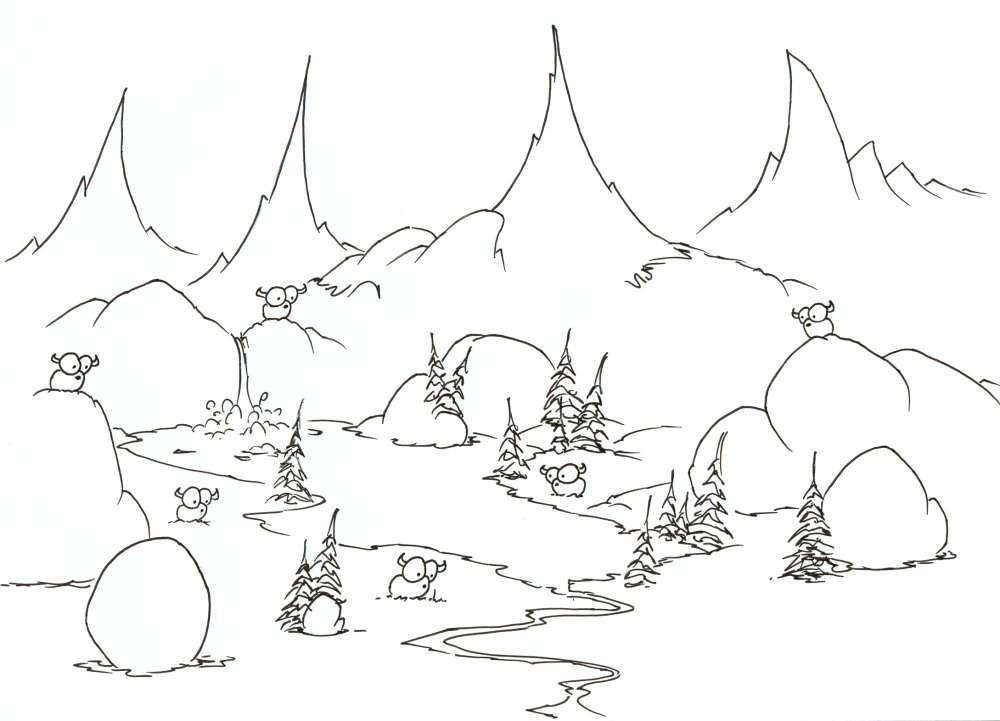 Cute Mountain Goats Coloring Page