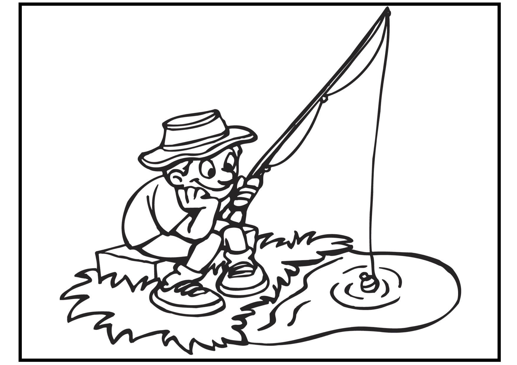 coloring pages of fishing - photo#12