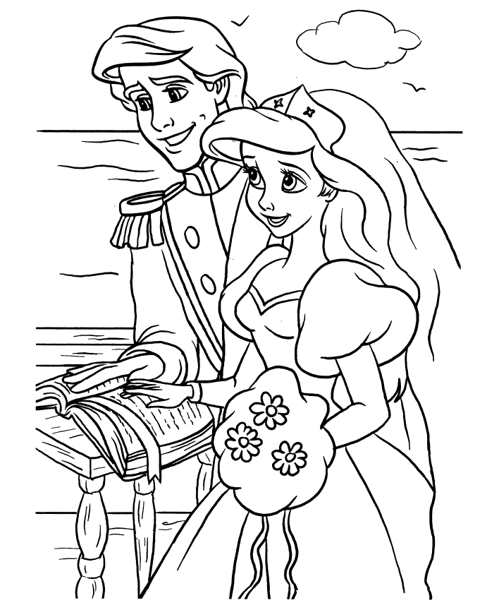 Little Mermaid Wedding Coloring Pages