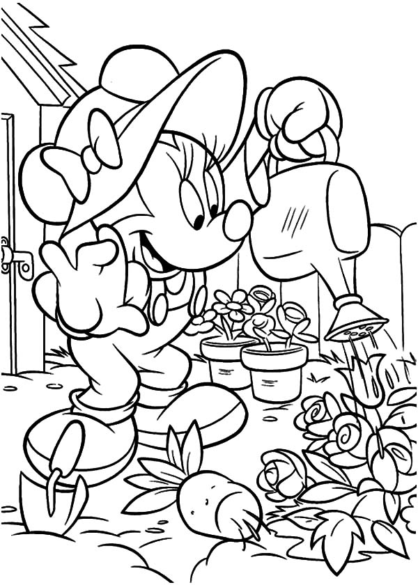 Minnie Gardening Coloring Pages