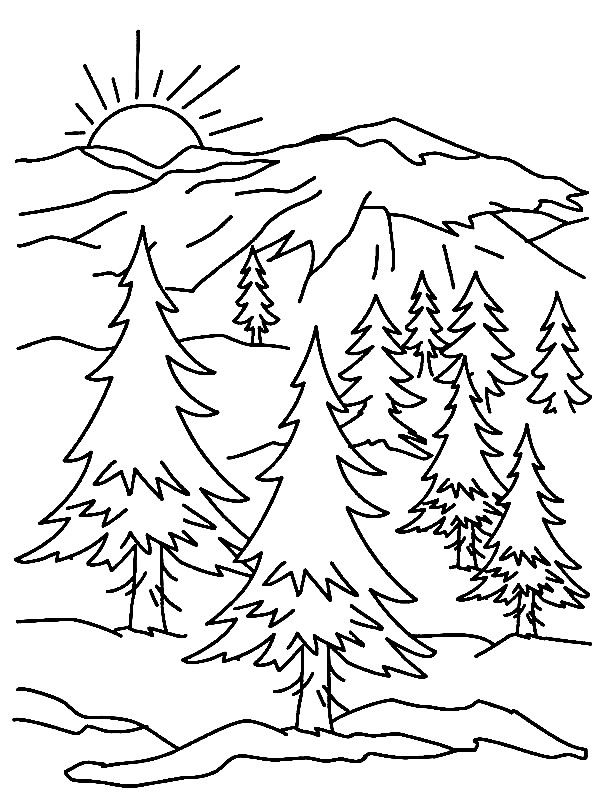 Mountain Scene Printable Coloring Page