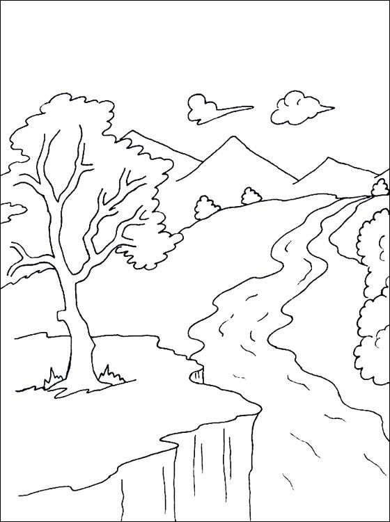 Mountain Stream Coloring Page