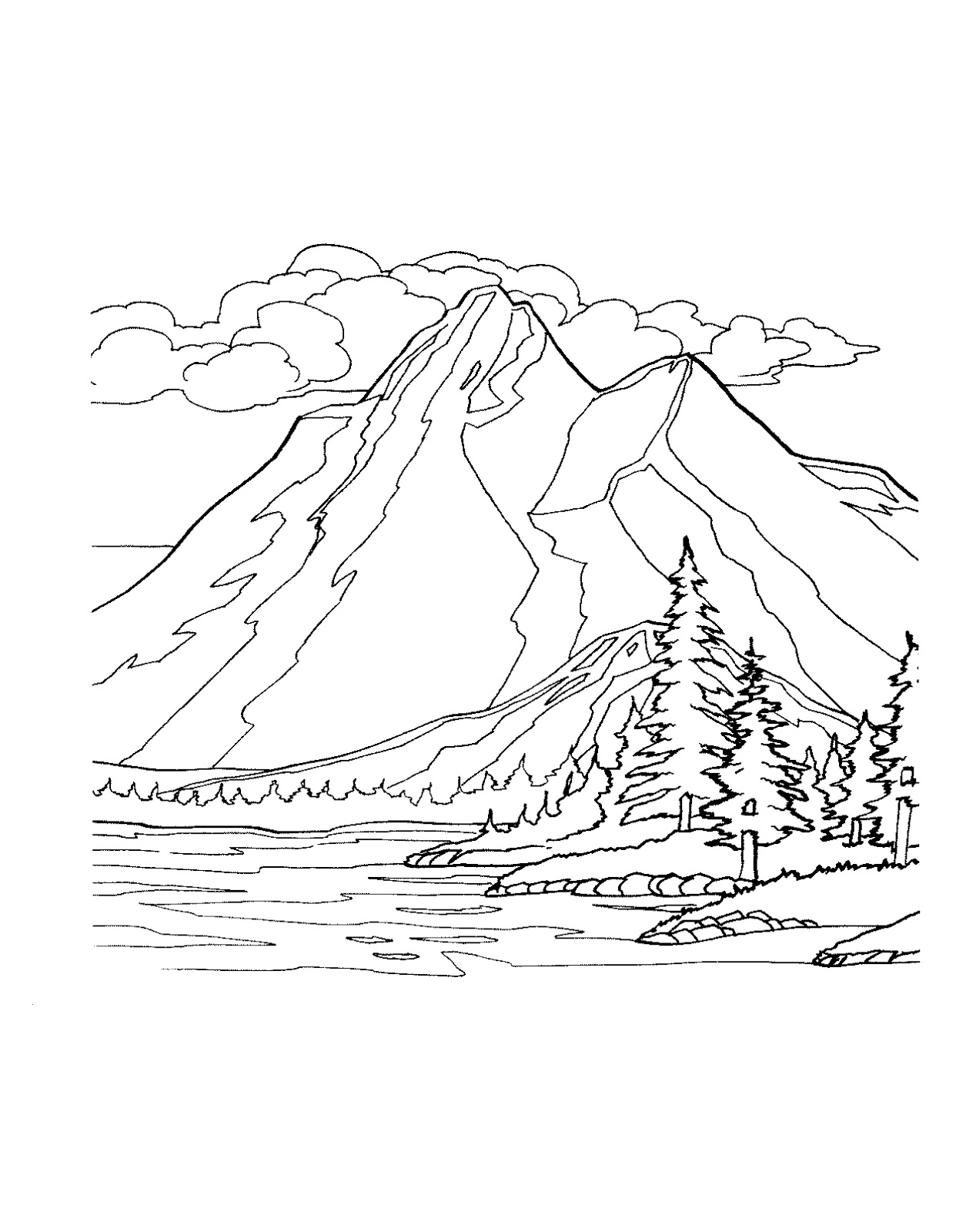 mountain coloring pages print - photo#8