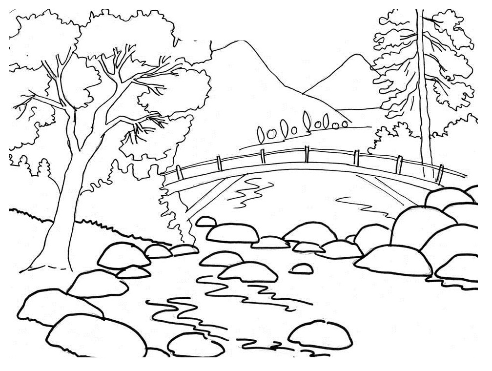 Nature Mountains Coloring Page