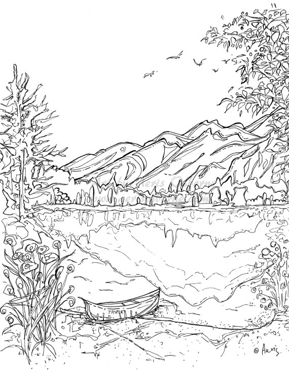 Nature Scene Mountains Coloring Page
