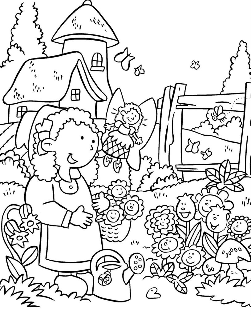 Pretty Gardening Coloring Pages