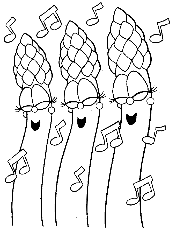 Singing Asparagus Vegetable Coloring Pages