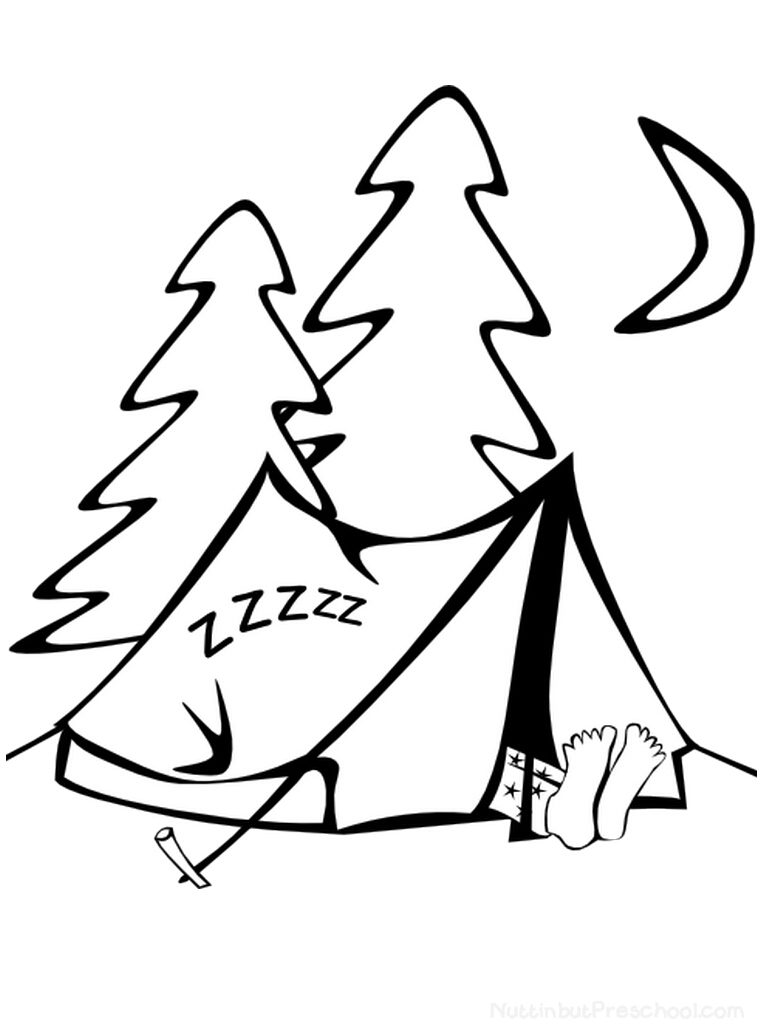 Sleeping in Tent Coloring Page