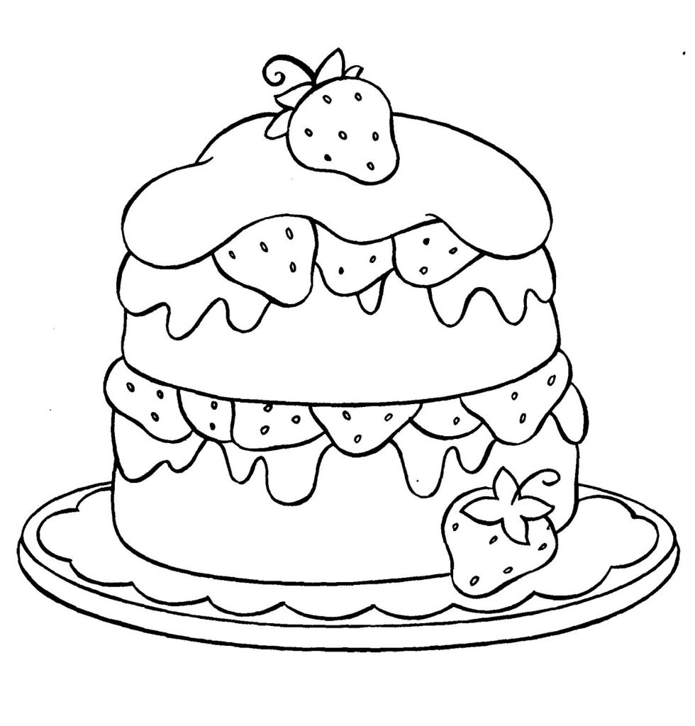 Strawberry Layer Cake Coloring Pages