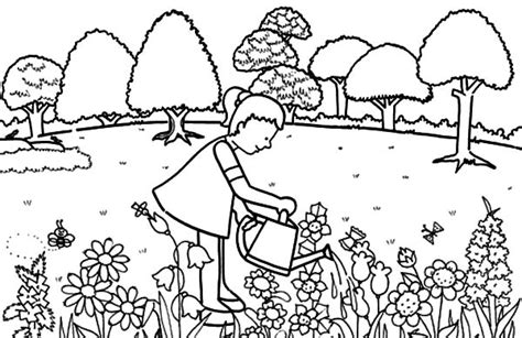 Watering Flowers Gardening Coloring Pages