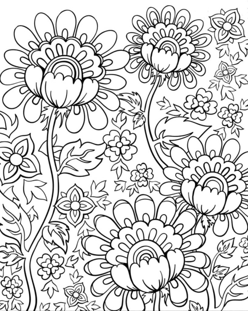 Adult Coloring Pages - Doodle Flowers