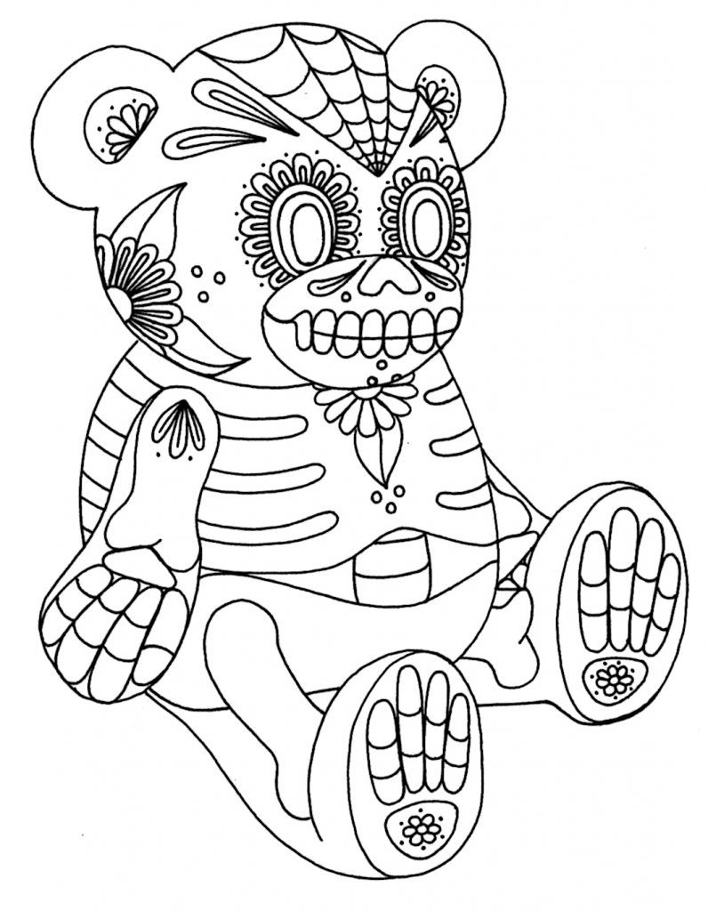 Bear Sugar Skull Coloring Pages