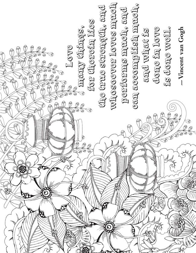 Coloring Pages Quotes Love Grows Colouring Art Adult Coloring ... | 650x839