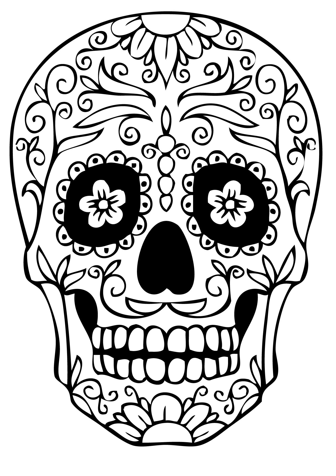 Shocking image inside printable sugar skull