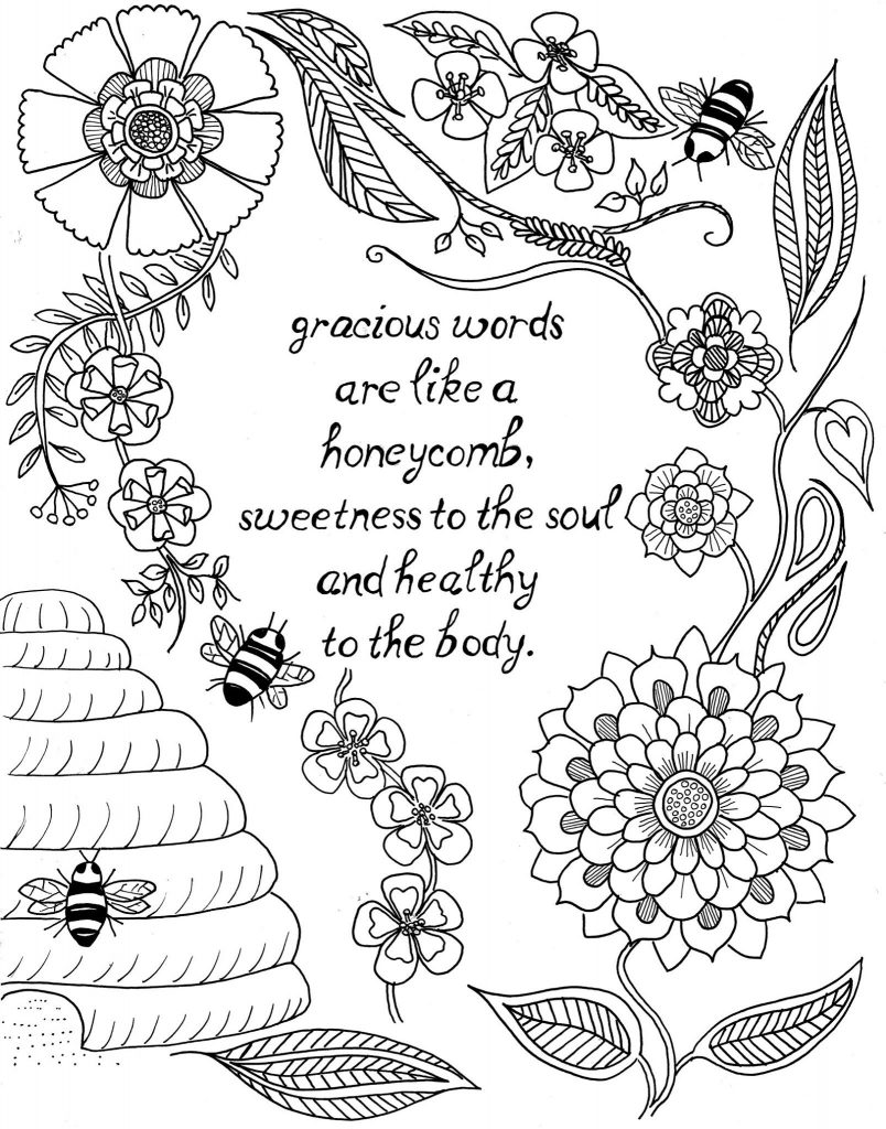 Gracious Words Quote Coloring Pages