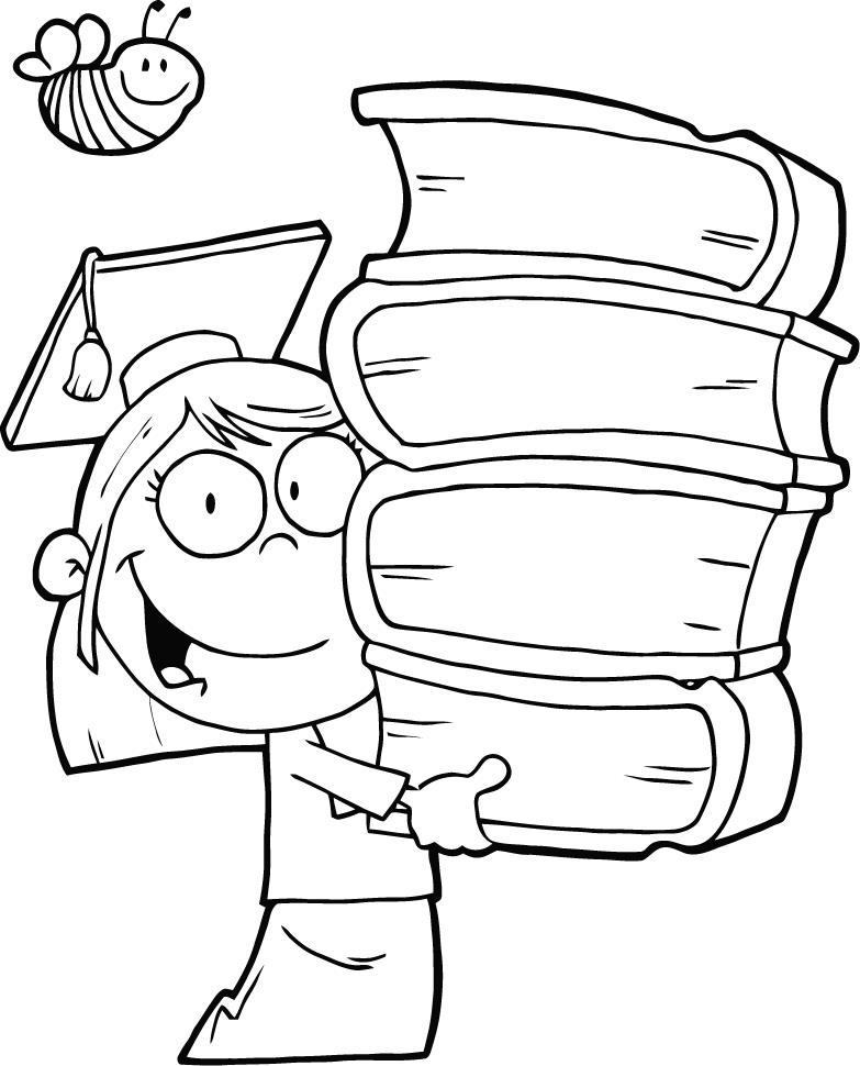 Graduate with Books Coloring Page