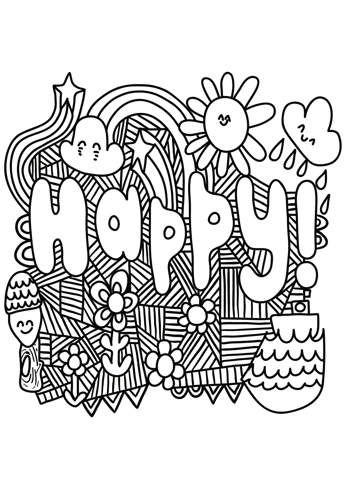 Happy Quote Coloring Pages For Teens