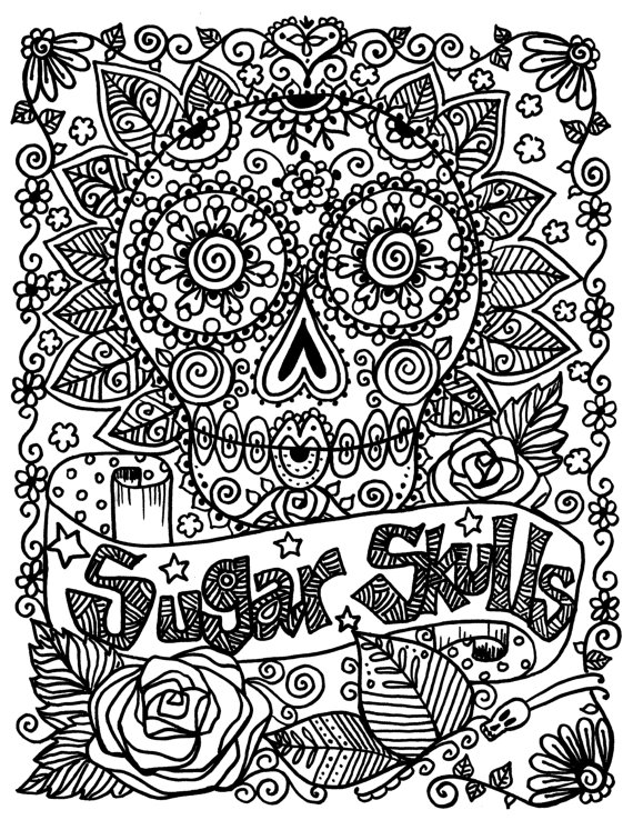 Hard Sugar Skull Coloring Pages For Adults