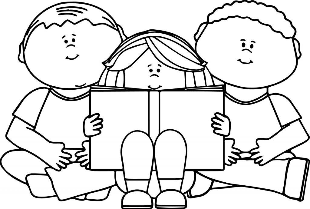 Kids Reading Coloring Page